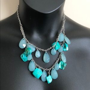 Blue and teal Statement Necklace, silver tone